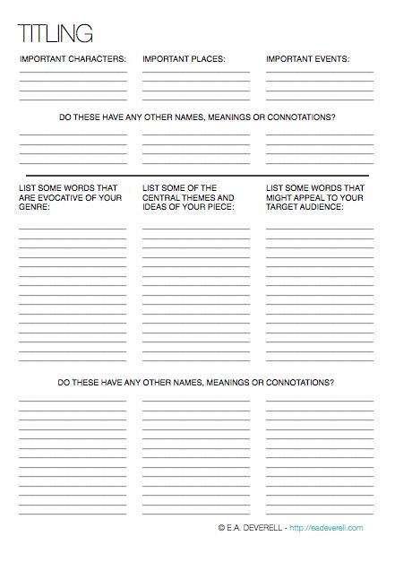 Book Title Worksheet