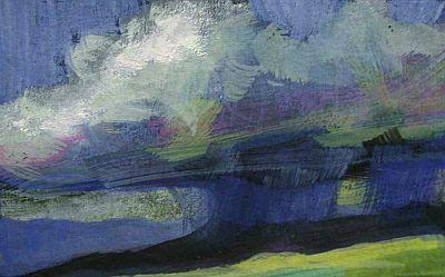 "Storm Clouds, 3x4.5"" on Somerset Black Velvet paper, by Deborah Secor"