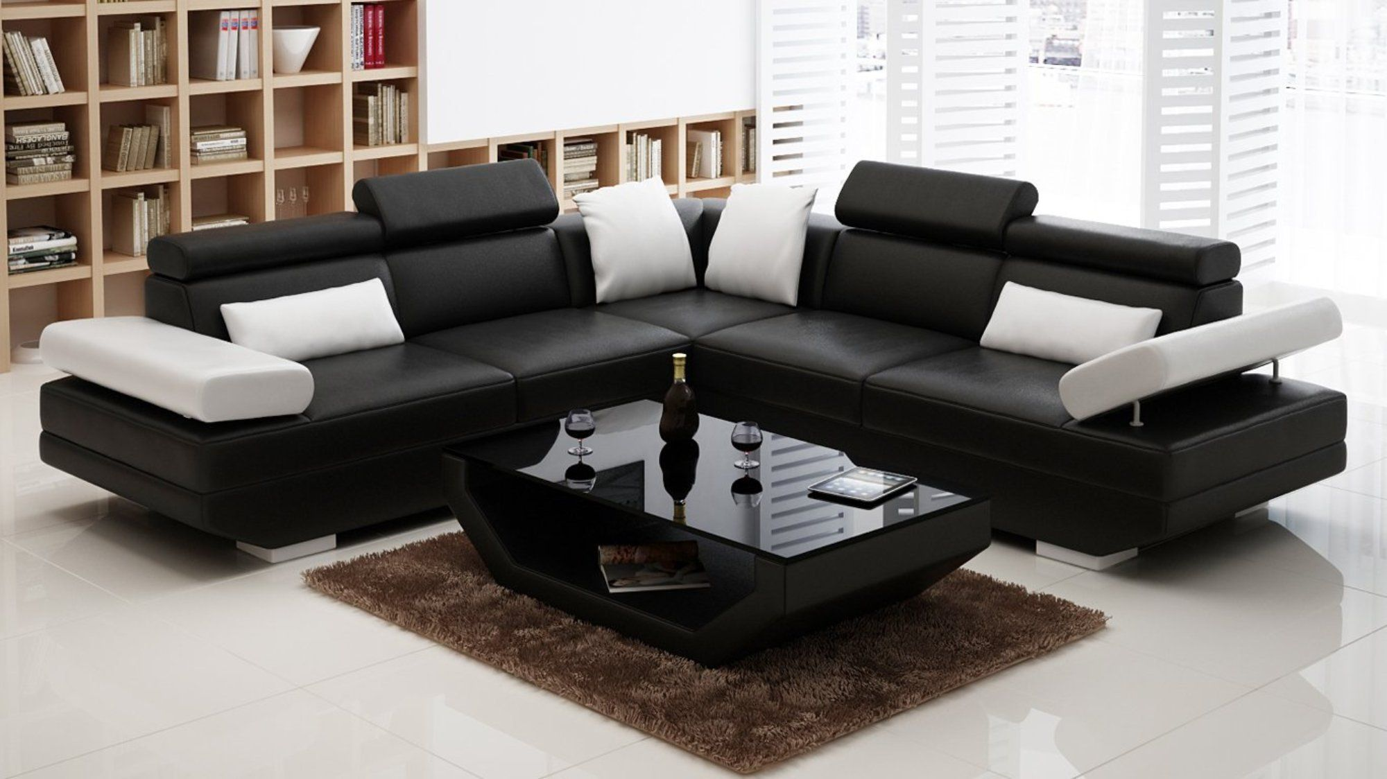 Luxury Modern L Shaped Sofa With Splittable Folding Backrests And