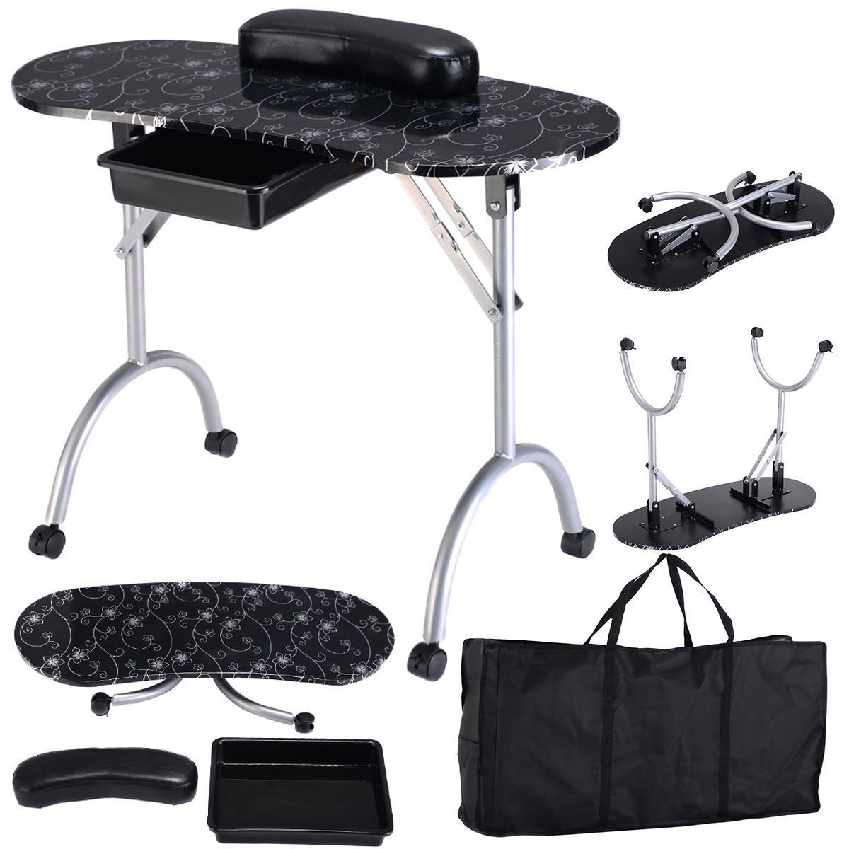 awesome Black Manicure Nail Table Portable Station Desk