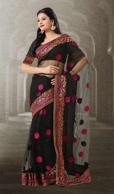 Black Net Embroidered Saree Price Usa Dollar 111 British Uk Pound