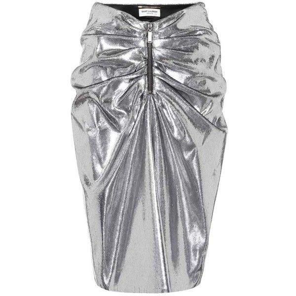 87bad41a22ea Saint Laurent Metallic Gathered Skirt (700 KWD) ❤ liked on Polyvore  featuring skirts