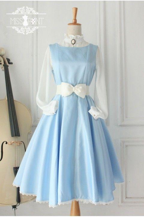 Cheap Light Blue Vintage Hepburn Impression Elegant Classic Lolita Dress - Fashion Lolita Dresses & Clothing Shop #vintagedresses