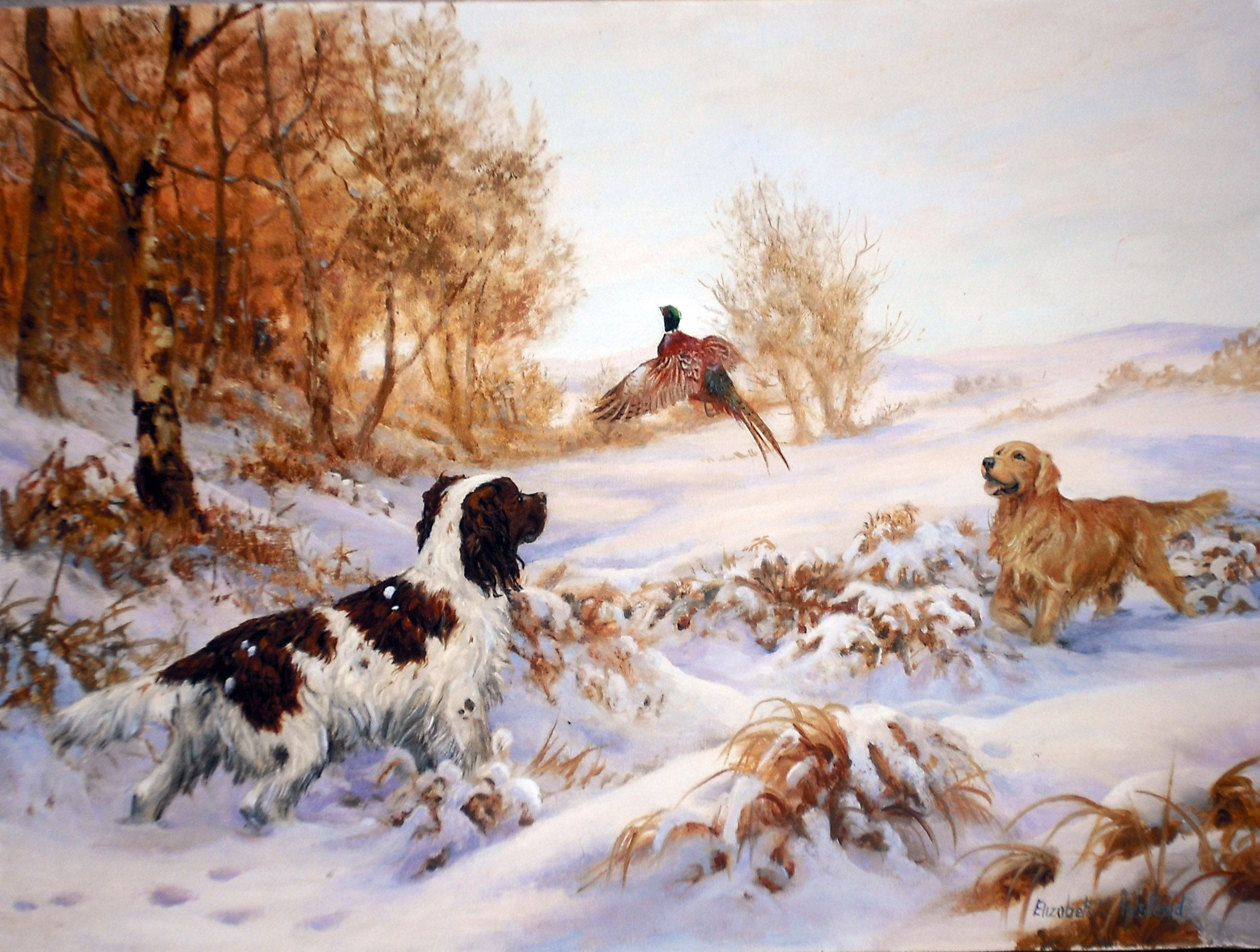 Up and Away - Spaniel and Retriever Playing in the Snow Charity ...