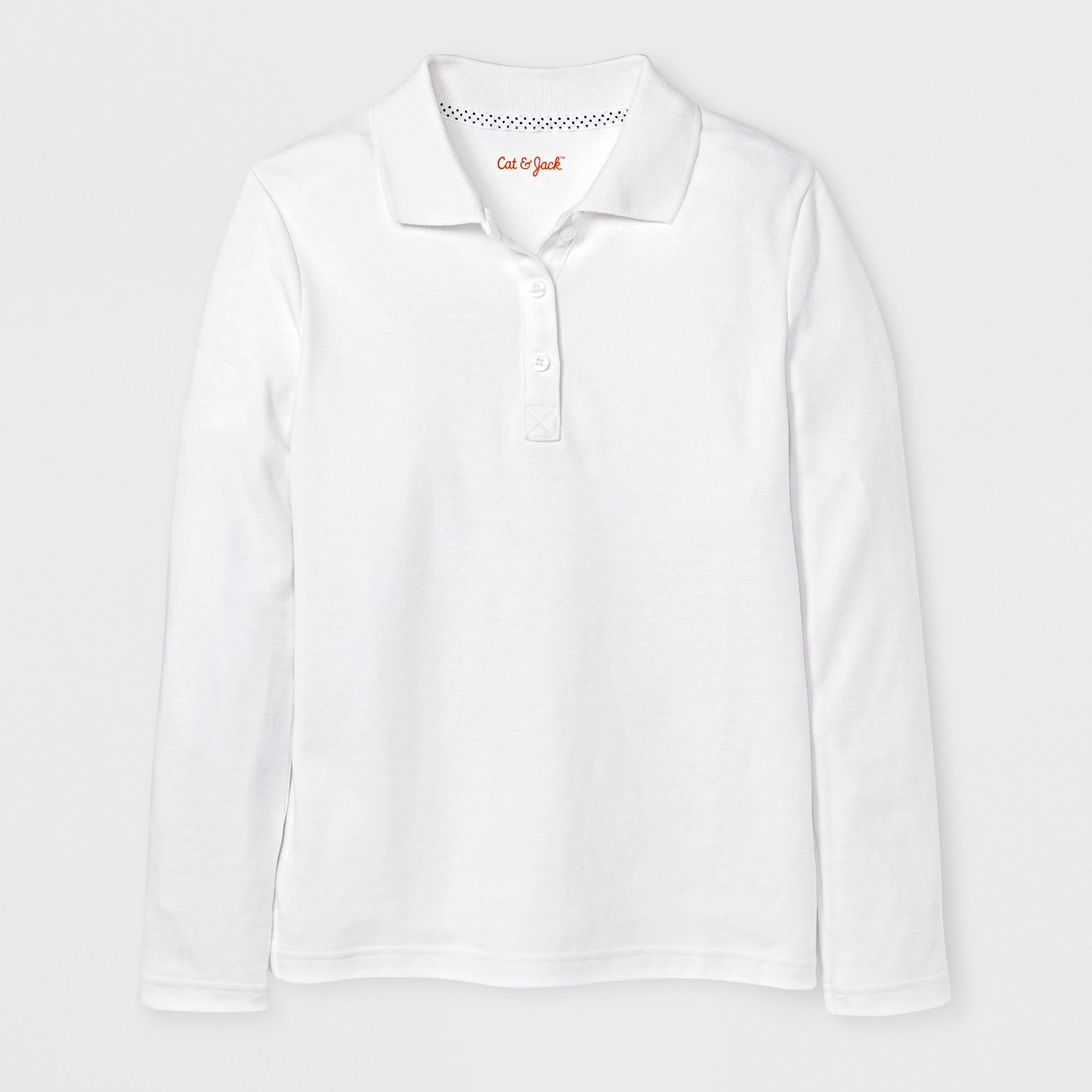 Girls' Long Sleeve Polo Shirt - Cat & Jack White M | Long sleeve ...