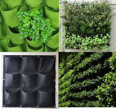 Vertical Greening Hanging Wall Garden Plant Bags Wall Planter 9/18/36  Pockets In