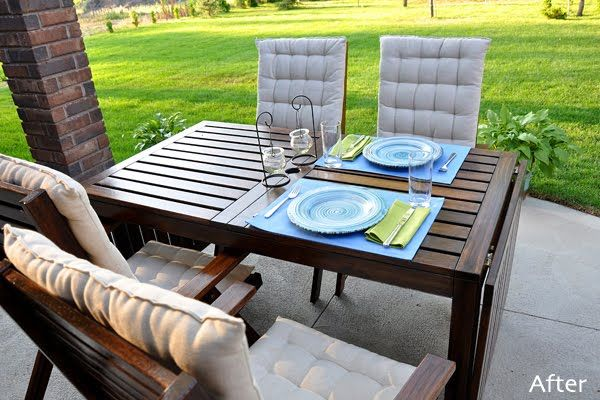 Ikea Applaro Table Stained Outdoor Dining Furniture Outdoor