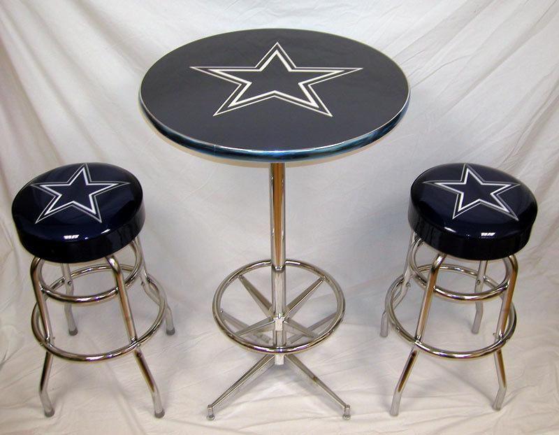 2 Dallas Cowboys Football Bar Stools & Table