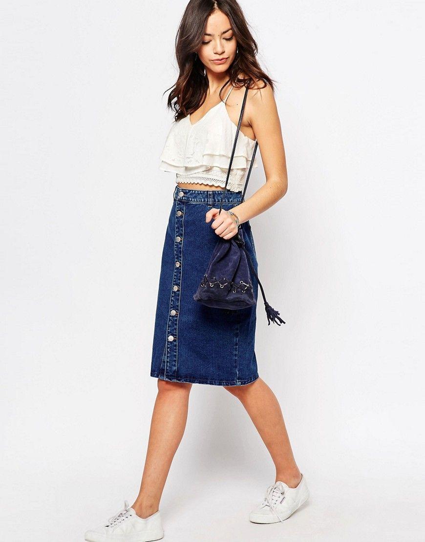 090436e2ad26 New Look Denim Midi Skirt in 2019
