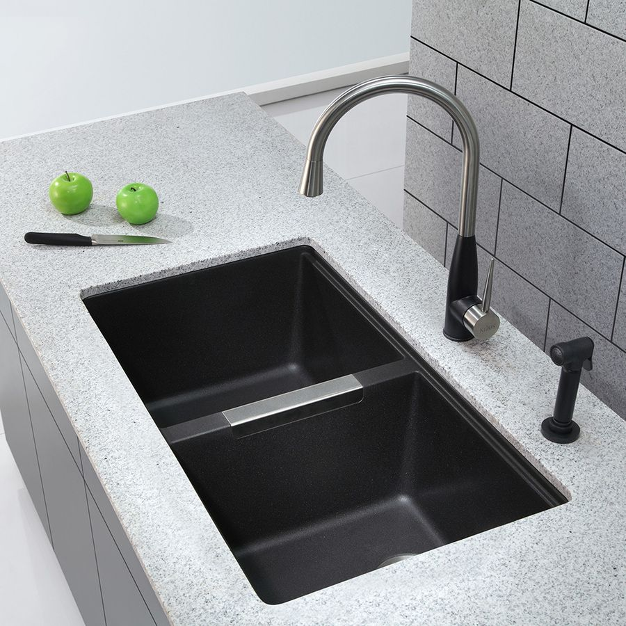 Shop Kraus 18.94 In X 32.44 In Black Onyx Double Basin Granite Undermount  Residential Kitchen Sink At Lowes.com