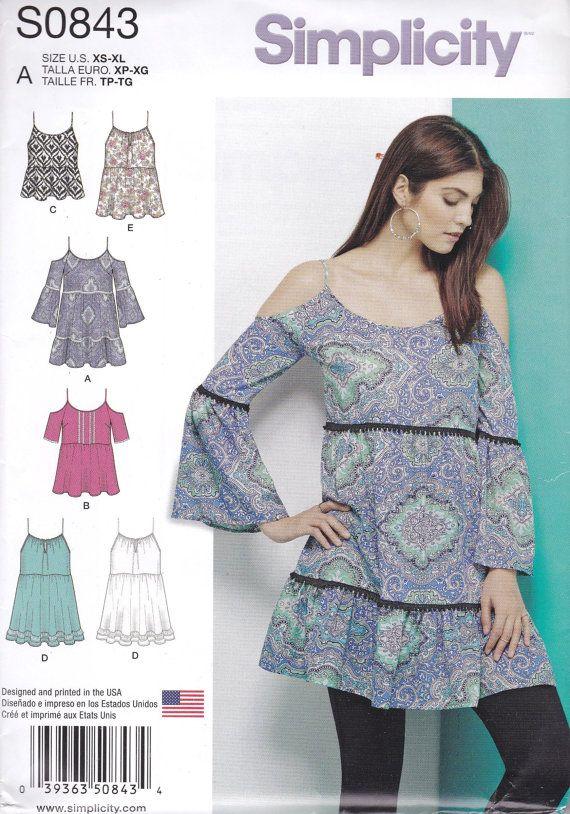 Pretty Boho Dress or Tunic Pattern Simplicity 0843 1161 Sizes XS ...
