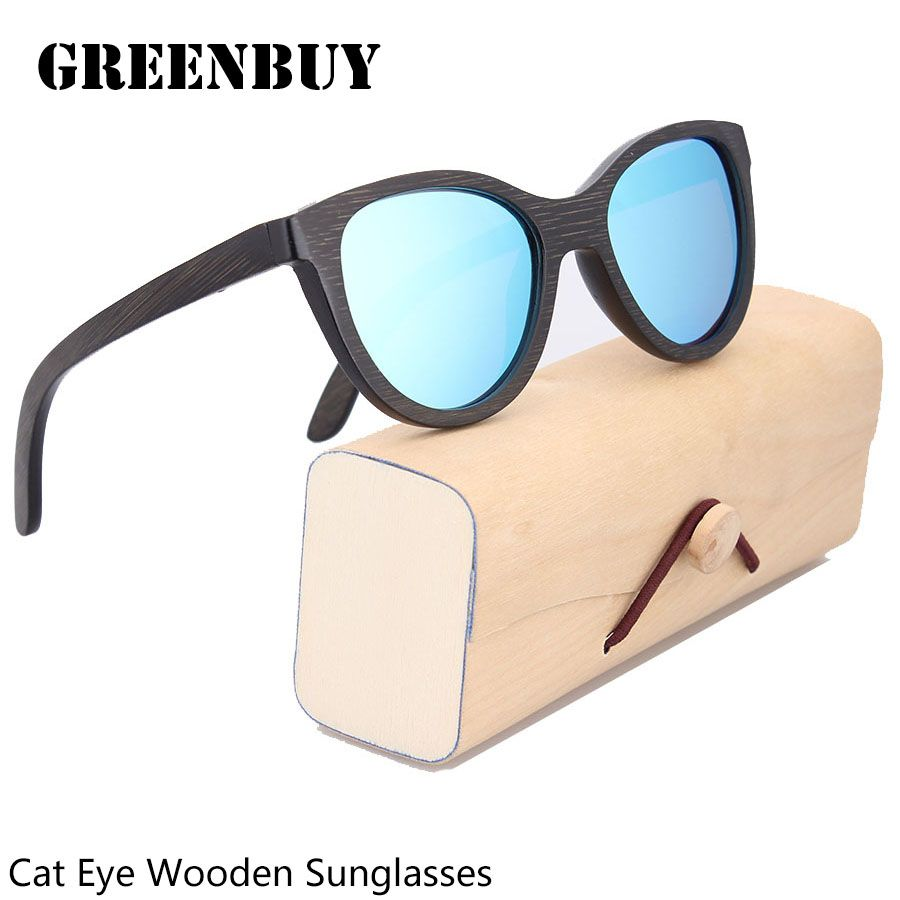 3361d42e9ae05 Free Engraving Logo Custom Bamboo Sunglasses Cat Eye Sun Glasses For Men  Italy Design Sunglasses Polarized Glasses Eyewear Shade