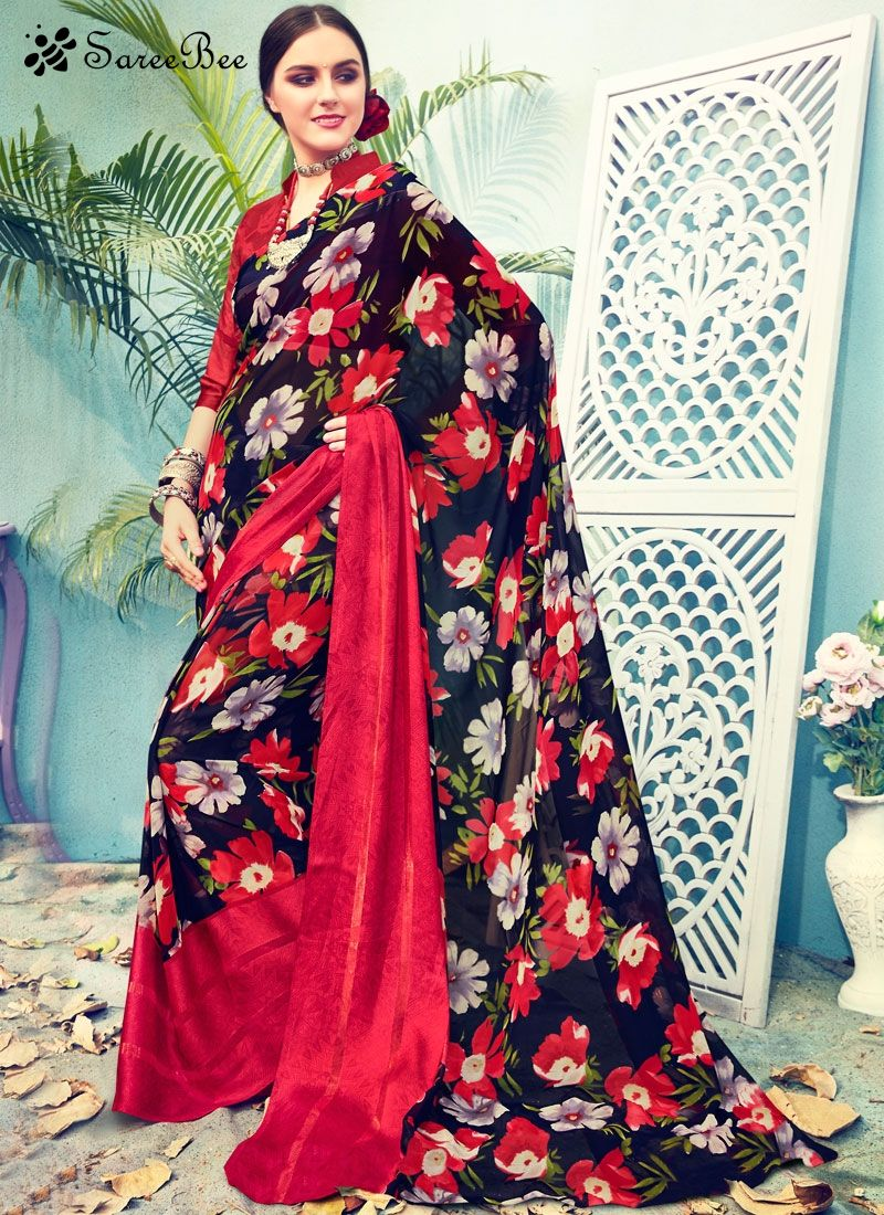 Black colour saree images incredible satin printed saree this multi colour satin printed saree