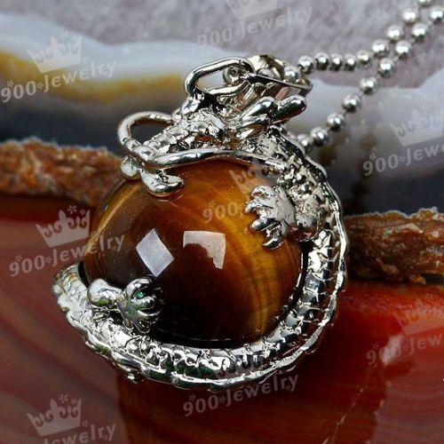 1x Natural Tiger Eye Gemstone Dragon Ball Bead Crystal Pendant Fashion Charm | eBay