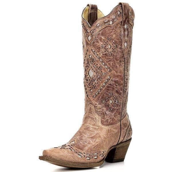 Women's Cognac Glitter Inlay Boot A2948