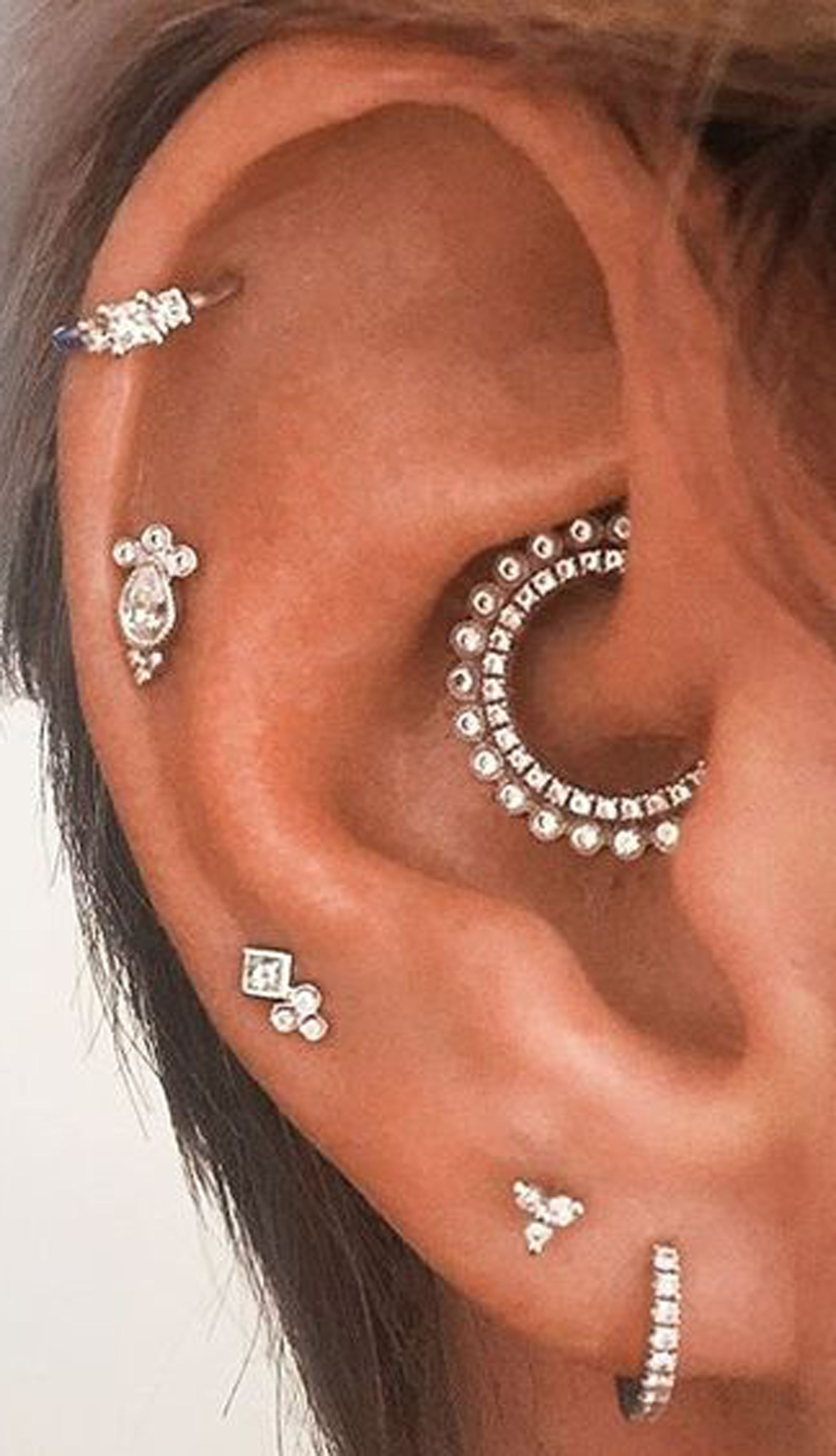 Pretty piercing ideas  Cute Multiple Ear Piercing Ideas for Cartilage Helix Daith Jewelry