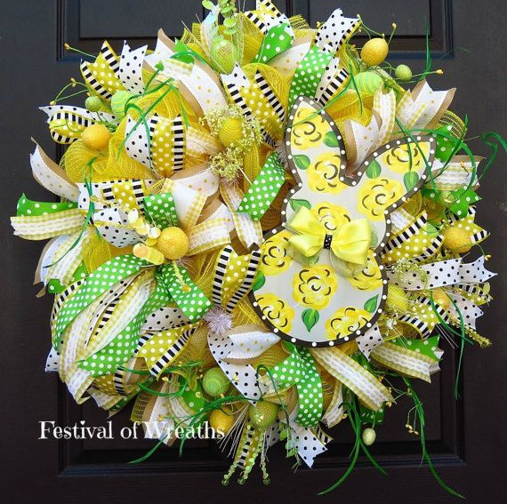 Spring Easter Deco Mesh Wreath Easter Front by FestivalofWreaths ...