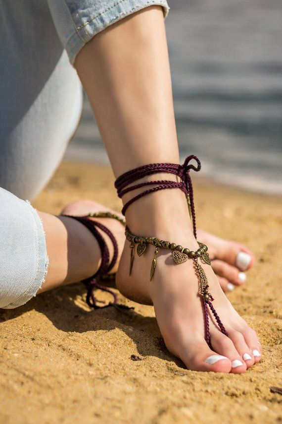 Boho barefoot sandals Beach wedding Bottomless sandals Foot jewelry  Soleless sandals Bare foot sanda d7a60a625479
