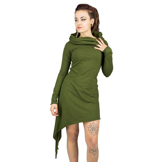 Asymmetrical Long Sleeved Hooded Dress