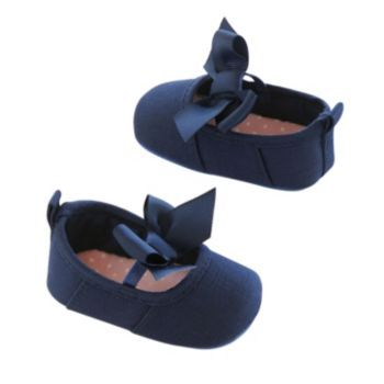 Baby Girl Carter's Navy Mary Jane Canvas Crib Shoes
