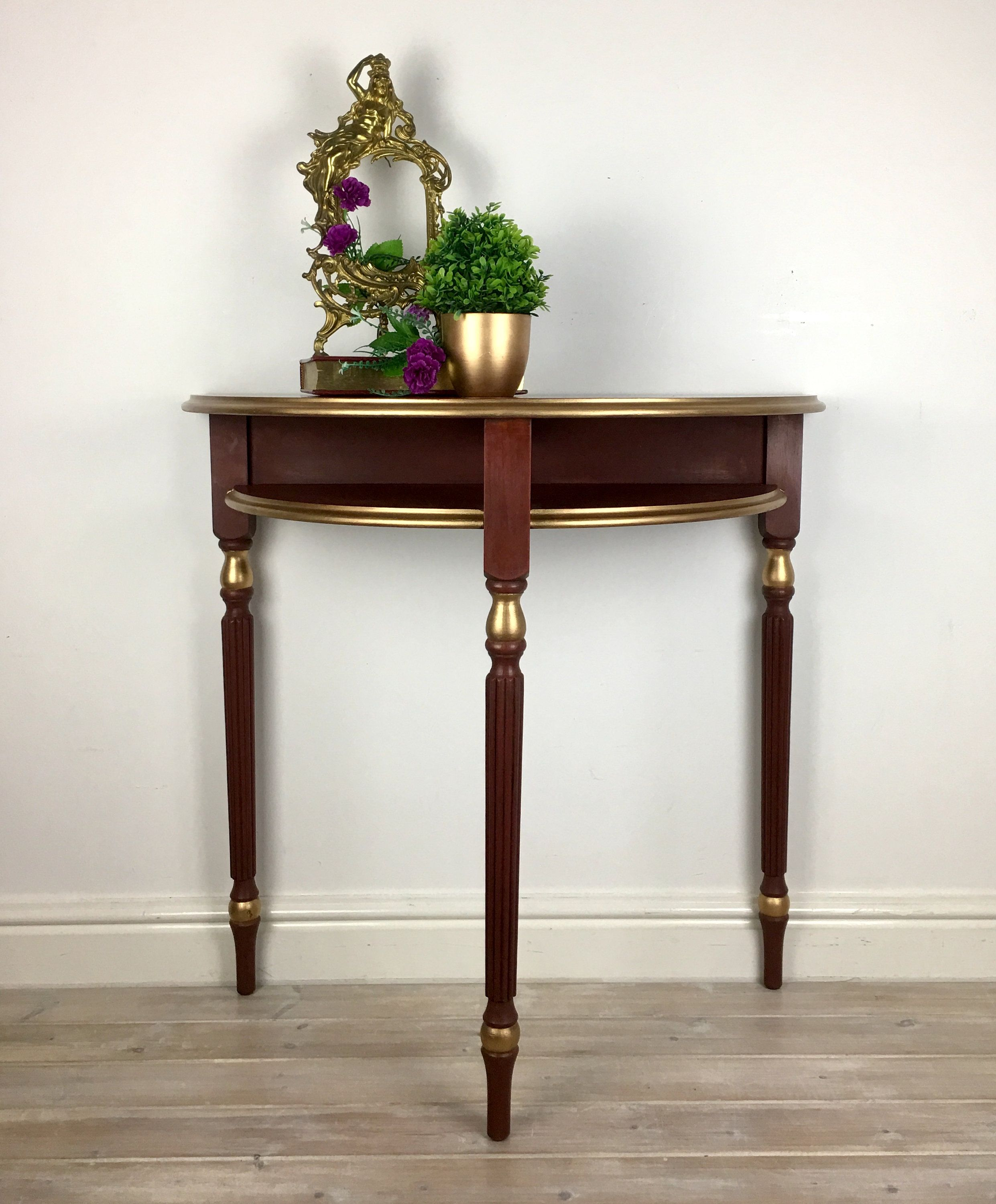 Red And Gold Demi Lune Half Moon Console Table Hand Painted Up