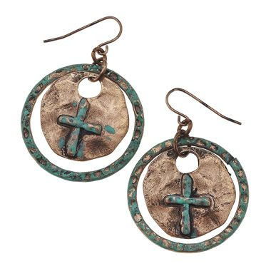 Patina copper cross earrings from www.countrysoulbling.com $12
