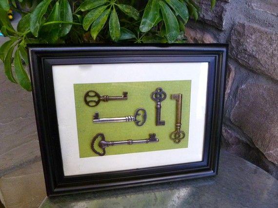 Vintage Inspired Skeleton Key Framed Art by HomeStyleColor on Etsy & Vintage Inspired Skeleton Key Framed Art | Pinterest | Skeletons ...