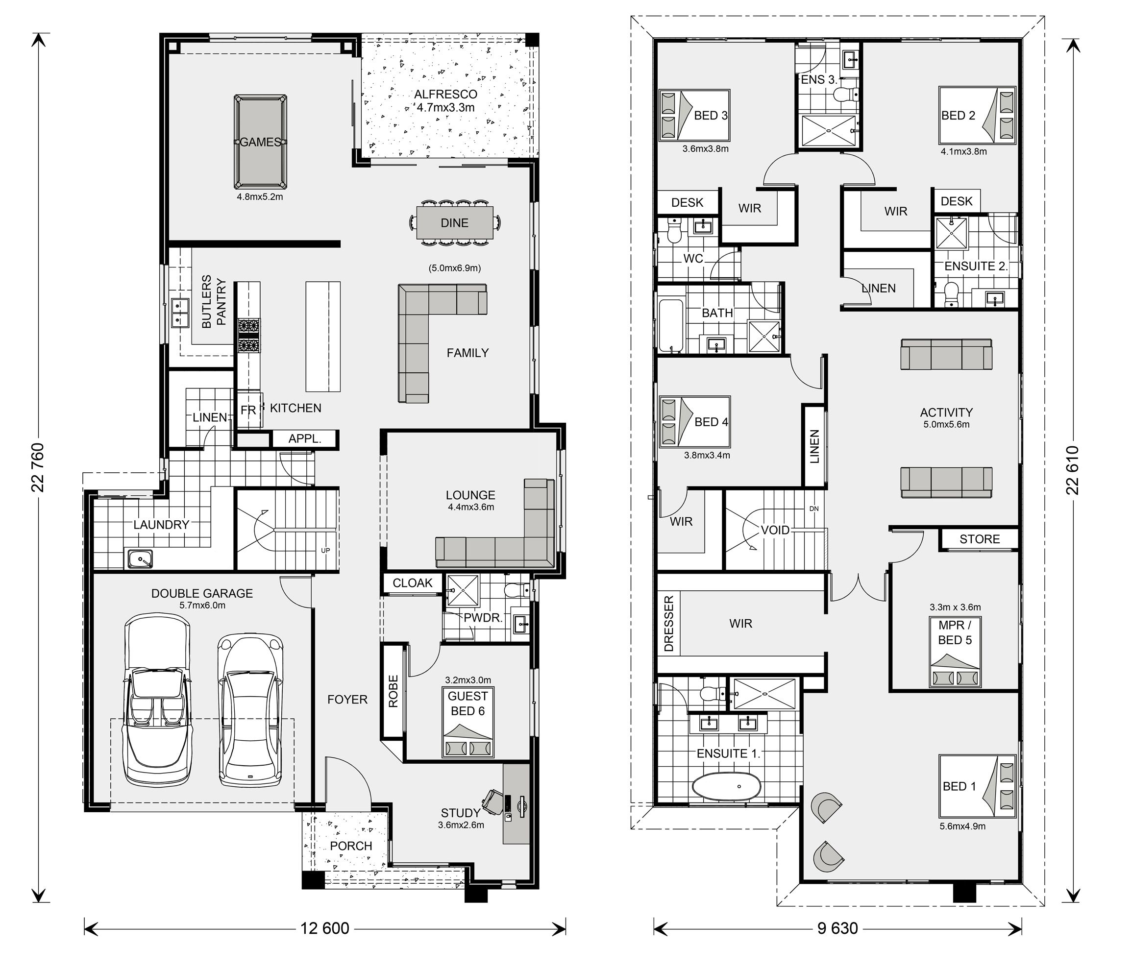 Manhattan 440 Home Designs In Jimboomba G J Gardner Homes Double Storey House Plans 6 Bedroom House Plans Family House Plans