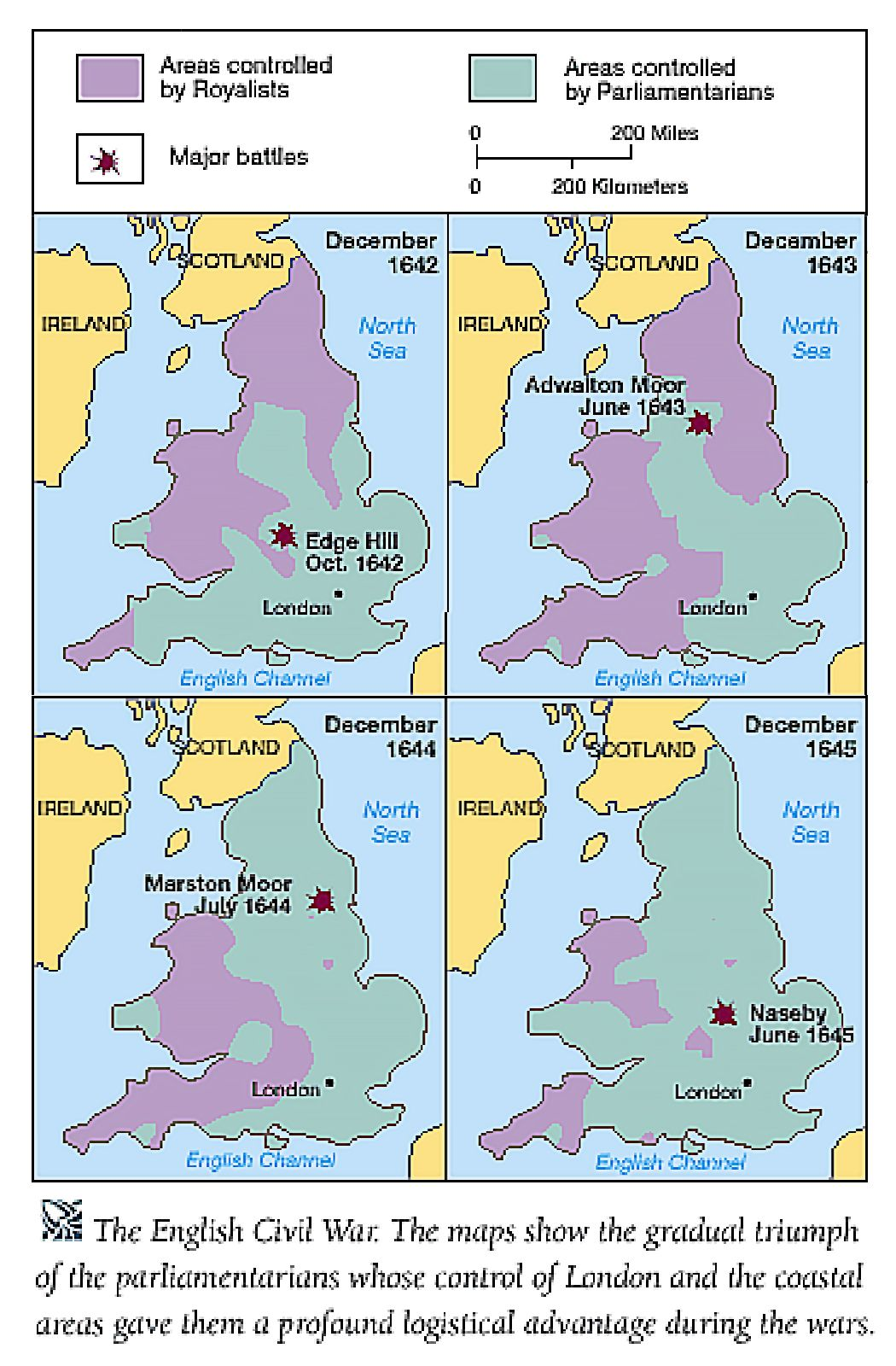 English Civil War The Map Show How The