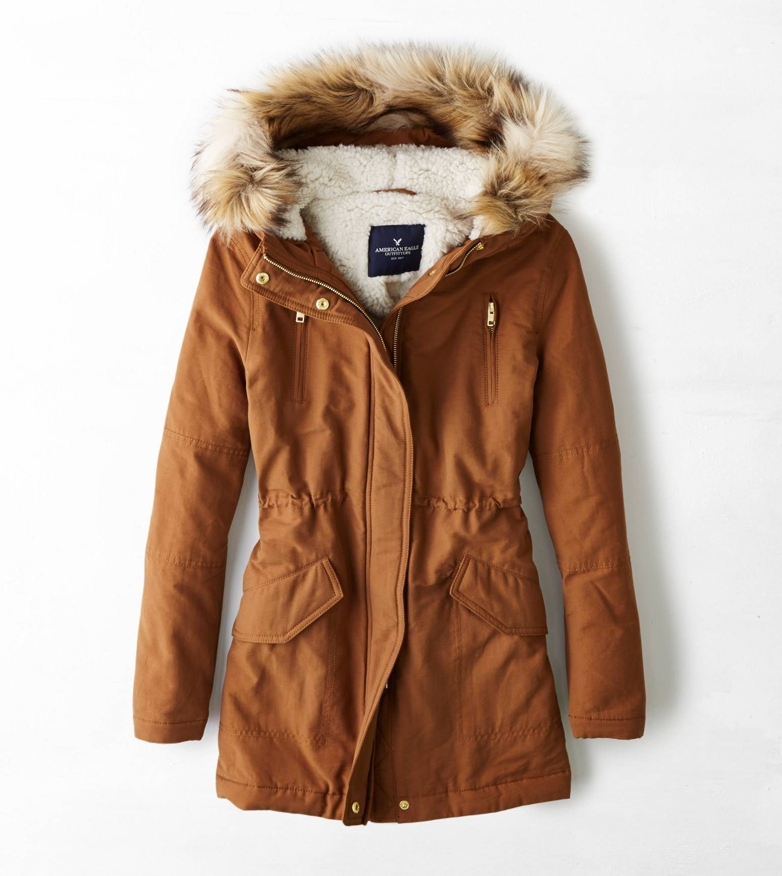 Tobacco AEO Cinched Surplus Parka Winter Parka a7c987f56def8