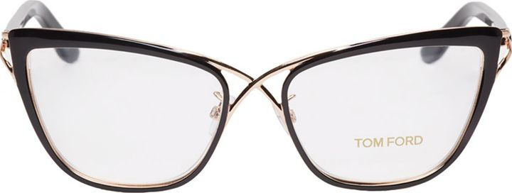 aaa150a5d9cc Tom Ford Black Crossover Cat-Eye Glasses. Love the rose gold-tone metal  frame featuring criss-cross bridge.  eyeglasses  glasses
