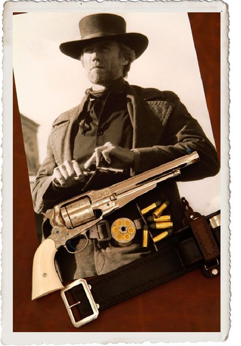 clint eastwood as preacher in pale rider gun stuff revolver