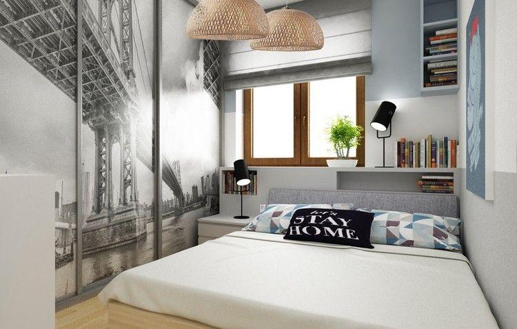 Wohnungseinrichtung Ideen Schlafzimmer Jugendzimmer Kleiderschrank  Schiebetueren Motiv