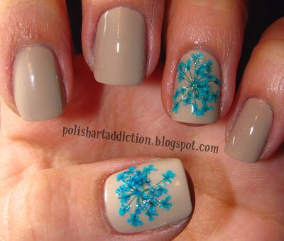 Dried Flower Nail Art So Beautiful With Real Flowers Style