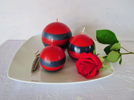 Red and black soy ball candles scented red and by CandlesbyDeganit