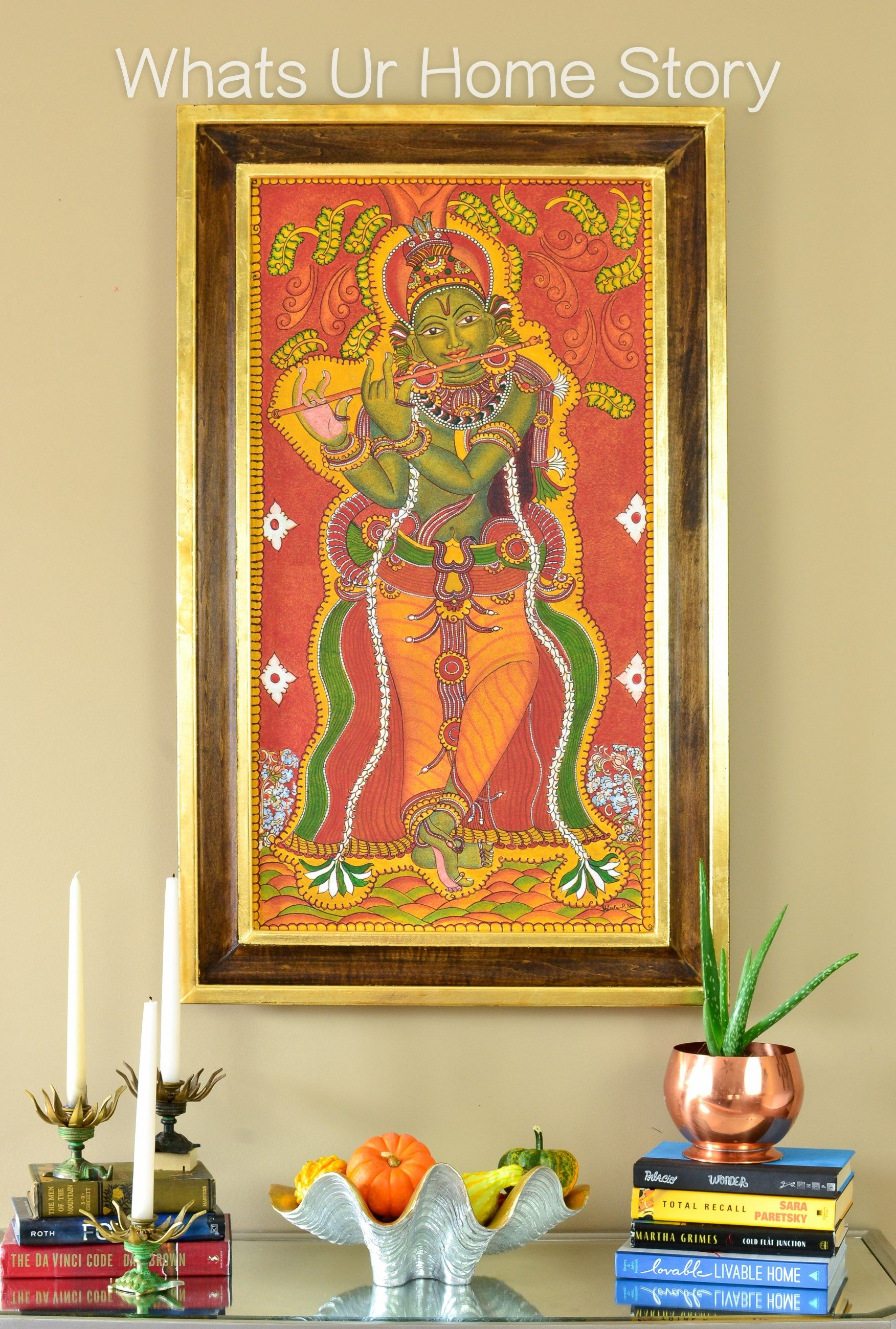 My Mom\'s Krishna Mural Painting & a DIY Frame