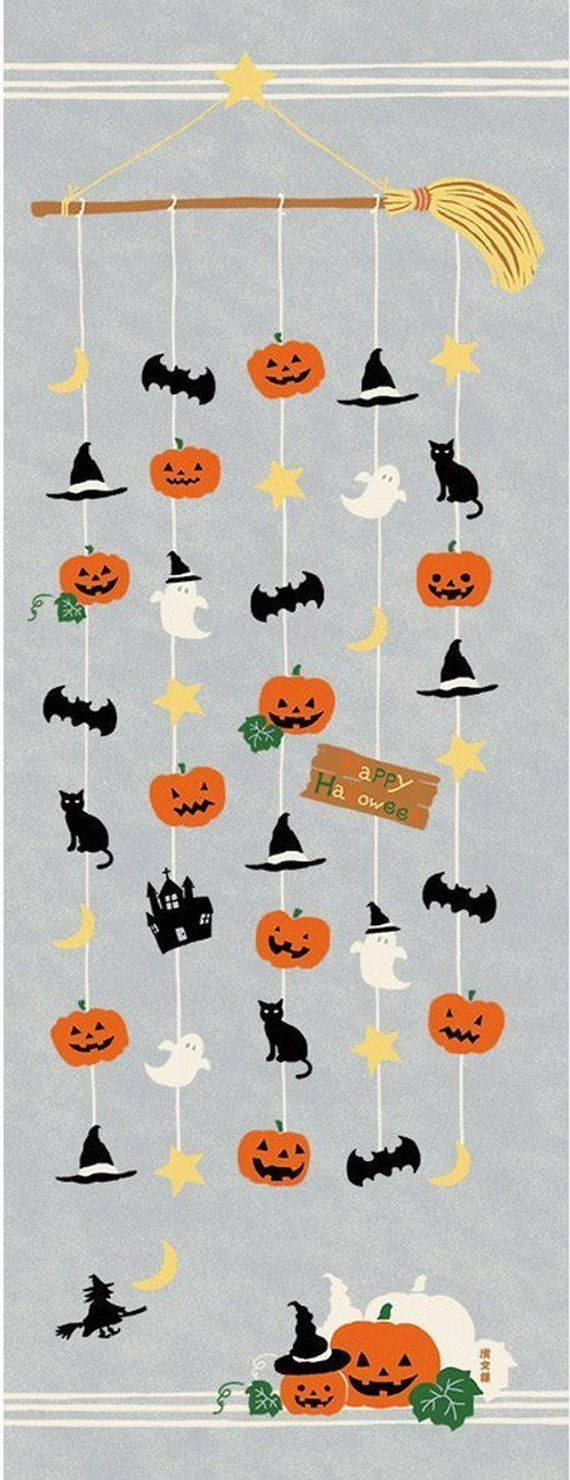 Japanese Tenugui Towel Cotton Fabric, Halloween Mobile, Pumpkin, Bat, Ghost, Cat, Hand Dyed Fabric, Wall Art Hanging, Gift Wrapping, h176