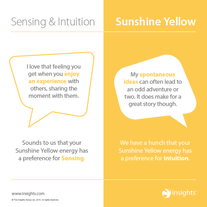 How sensing and intuition show up in Sunshine Yellow Colour Energy