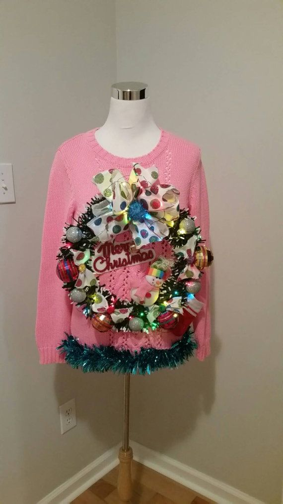 Ugly Christmas Sweater Pink Snowman Wreath Light Up Ugly Sweater