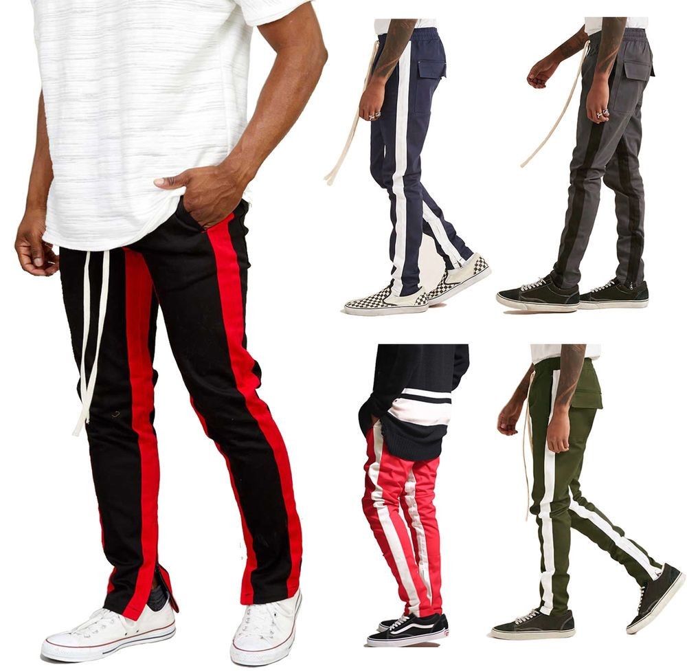 Mens Track Pants Jogger Sweatpants Side Ankle Zip Hipster Long Drawstring Urban