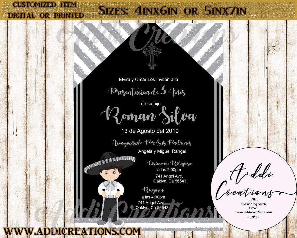 presentacion de tres anos invitations  customized item