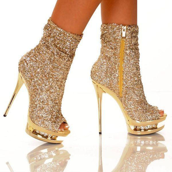 Gold Sequin Booties