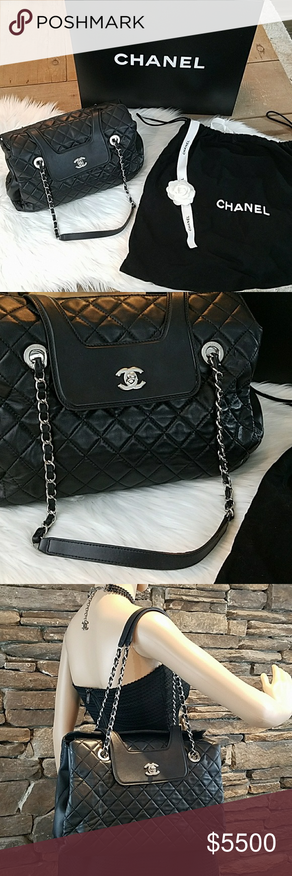 db16e5aa93c8 NWT CHANEL Authentic Quilted Large Open Flap Tote NWT Authentic, New, in  box with