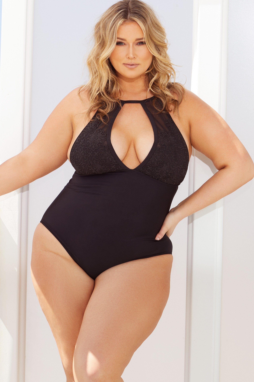 9316c8dd808 Hunter McGrady Plus Size/Curve Black High Neck Lace Panel Swimsuit - Playful  Promises