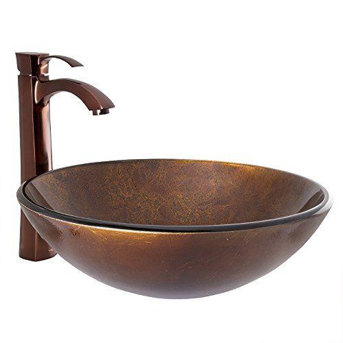 VIGO Russet Glass Vessel Bathroom Sink and Otis Vessel Faucet with
