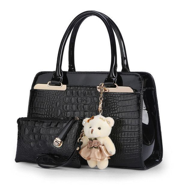 2596bd6e4785 SUNNY SHOP 2 Bags set With Bear European and American fashion casual  alligator pattern handbag patent PU leather shoulder bag