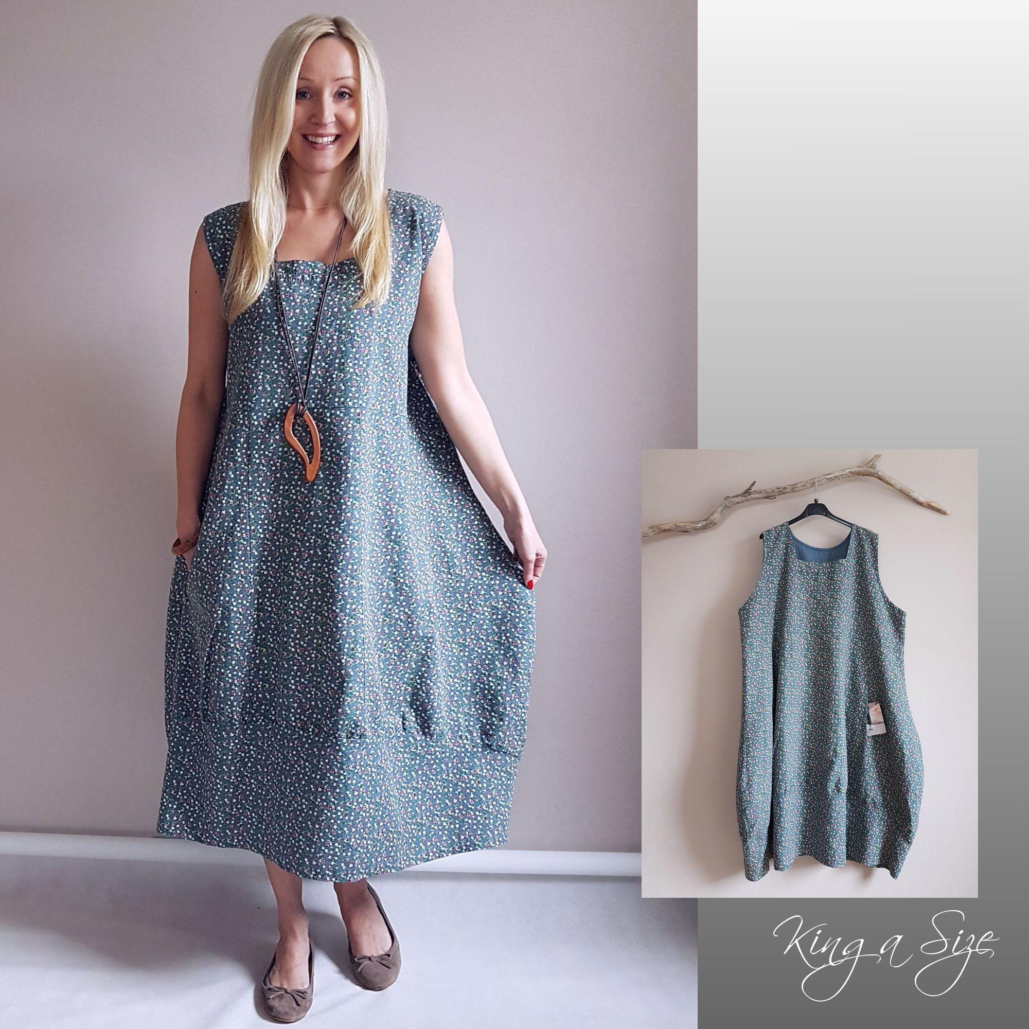 ITALY Kleid Lagenlook LEINEN Gr.50 plus size blau (mit ...