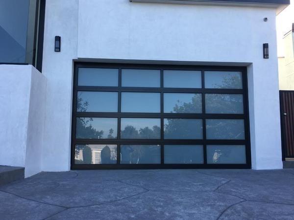 b68ae47ff57 Contemporary Aluminum   White Laminate (Privacy) Glass Garage Door ...