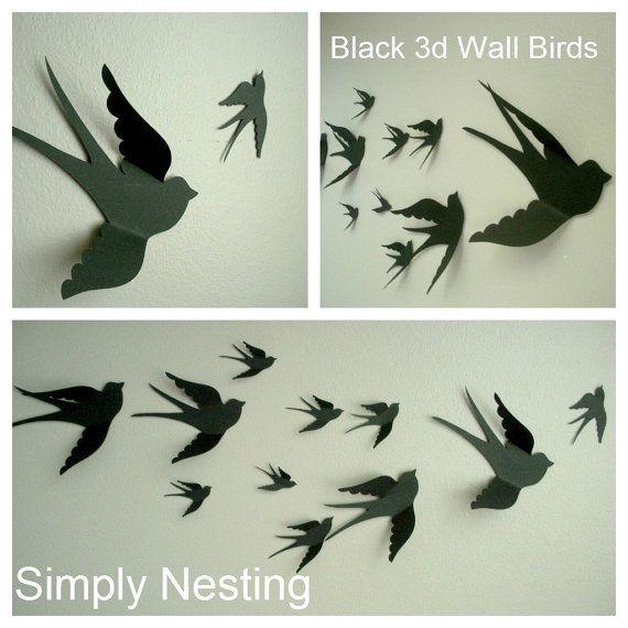 3d birds wall decor