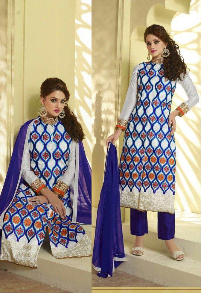 a14e593f14 White Georgette Narrow Pant Suit with Dupatta - #Pakistani-Salwar-Kameez -Design
